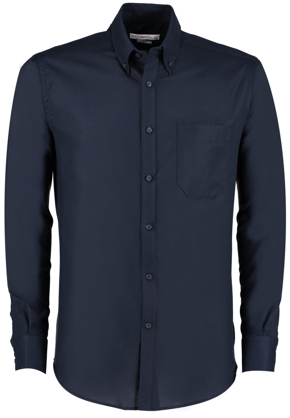 KK184 - Slim Fit Oxford Shirt Mens Long Sleeve Shirts Kustom Kit Navy 14""