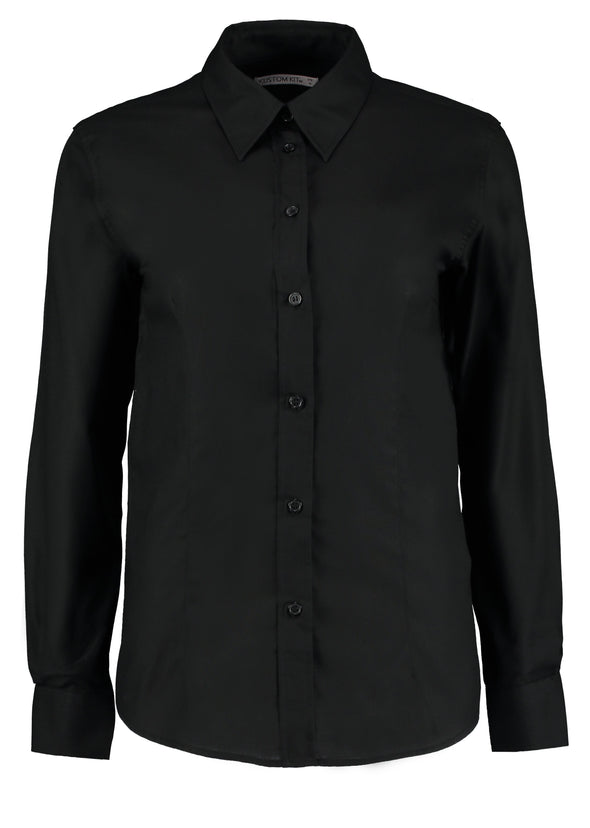 KK361 - Workplace Oxford Shirt Womens Long Sleeve Shirts Kustom Kit Black 8