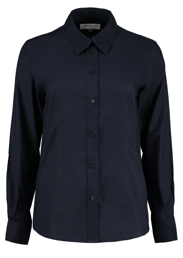 KK361 - Workplace Oxford Shirt Womens Long Sleeve Shirts Kustom Kit French Navy 8