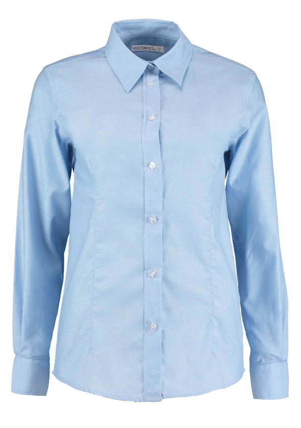 KK361 - Workplace Oxford Shirt Womens Long Sleeve Shirts Kustom Kit Light Blue 6