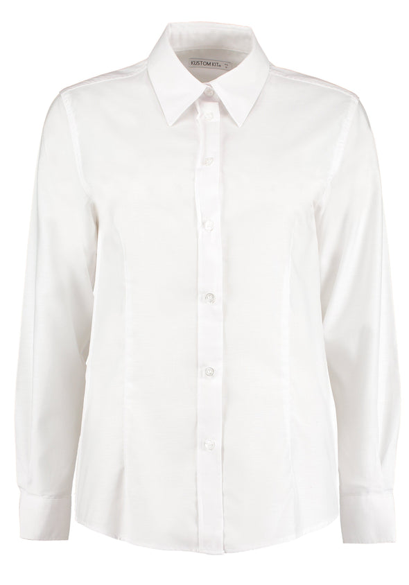 KK361 - Workplace Oxford Shirt Womens Long Sleeve Shirts Kustom Kit White 6