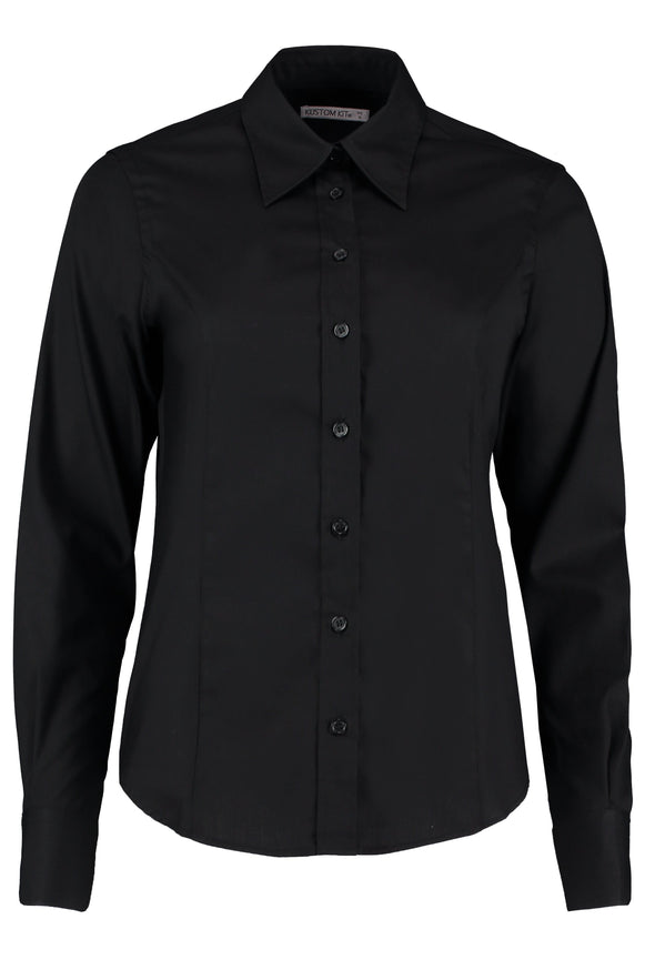 KK702 - Long Sleeve Oxford Shirt Womens Long Sleeve Shirts Kustom Kit Black 6