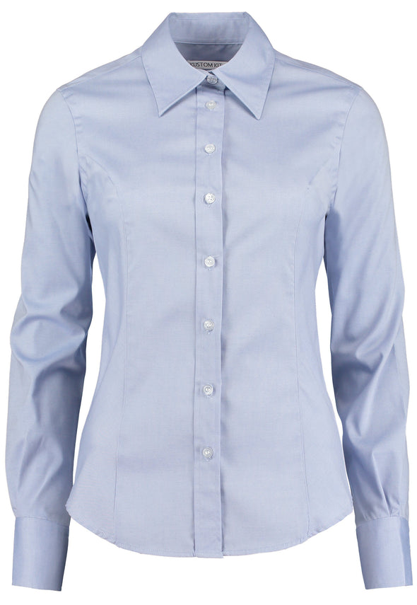 KK702 - Long Sleeve Oxford Shirt Womens Long Sleeve Shirts Kustom Kit Light Blue 6