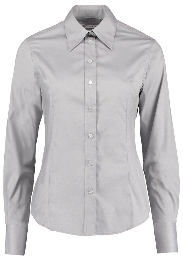KK702 - Long Sleeve Oxford Shirt Womens Long Sleeve Shirts Kustom Kit Silver Grey 8