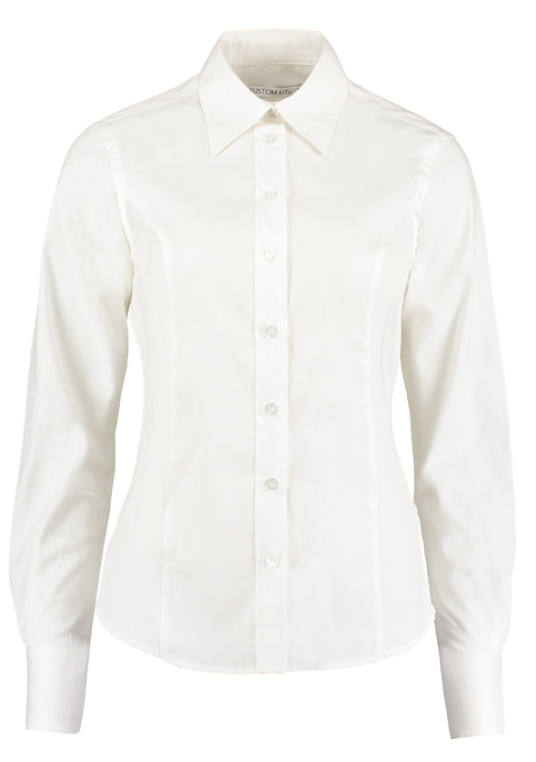 KK702 - Long Sleeve Oxford Shirt Womens Long Sleeve Shirts Kustom Kit White 6