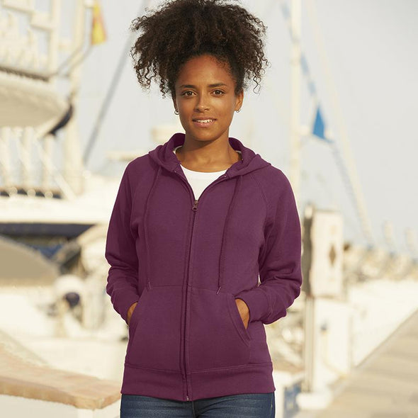 Lady-Fit Lightweight Hooded Sweatshirt Jacket Womens Hoodies Fruit of the Loom