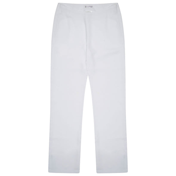 "Lili Straight Leg Trouser - Unhemmed 34"" Length Salon & Spa Trousers La Beeby White 6"