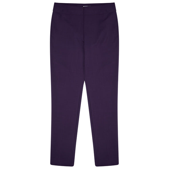 "Macy Slim Leg Trouser - Unhemmed 33"" Length Salon & Spa Trousers La Beeby Plum 6"