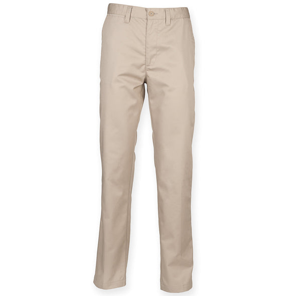 Mens 65/35 Flat Fronted Chino Mens Chinos Henbury Stone 30 Regular