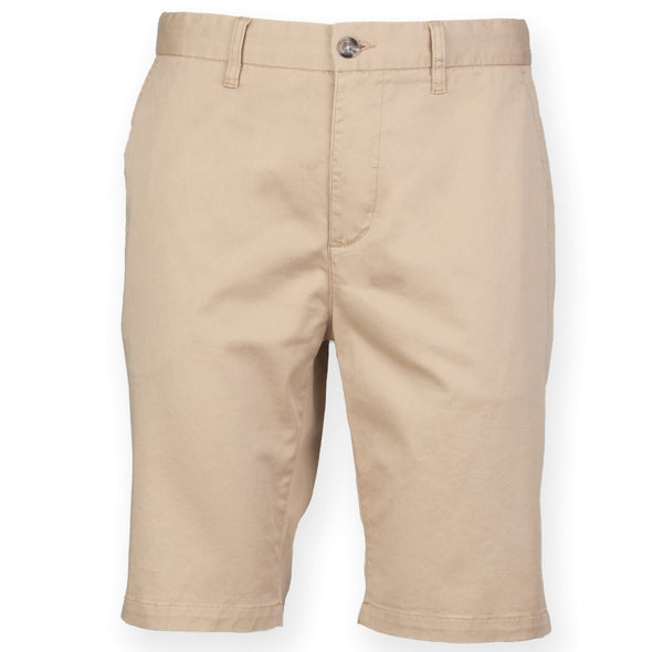 Mens Stretch Chino Shorts Mens Chinos Front Row & Co Stone 28