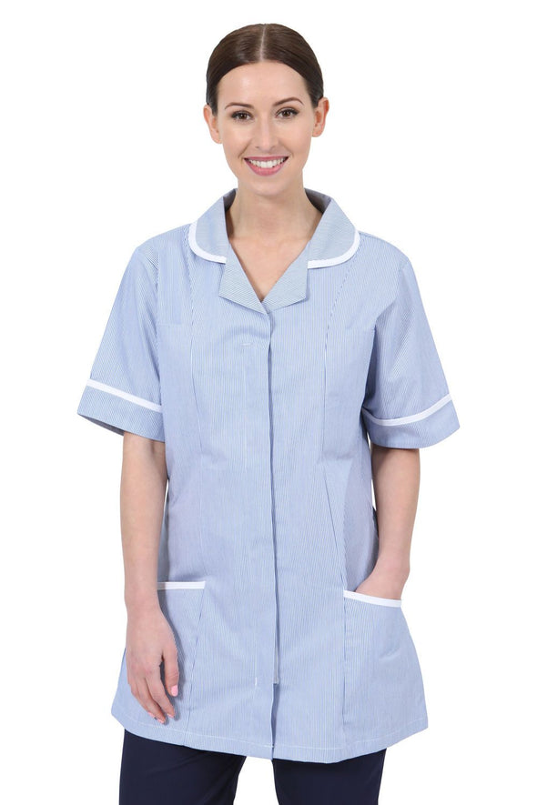 NCLT- Round Collar Tunic (Striped) Ladies Healthcare Tunic Behrens Blue Stripe 6