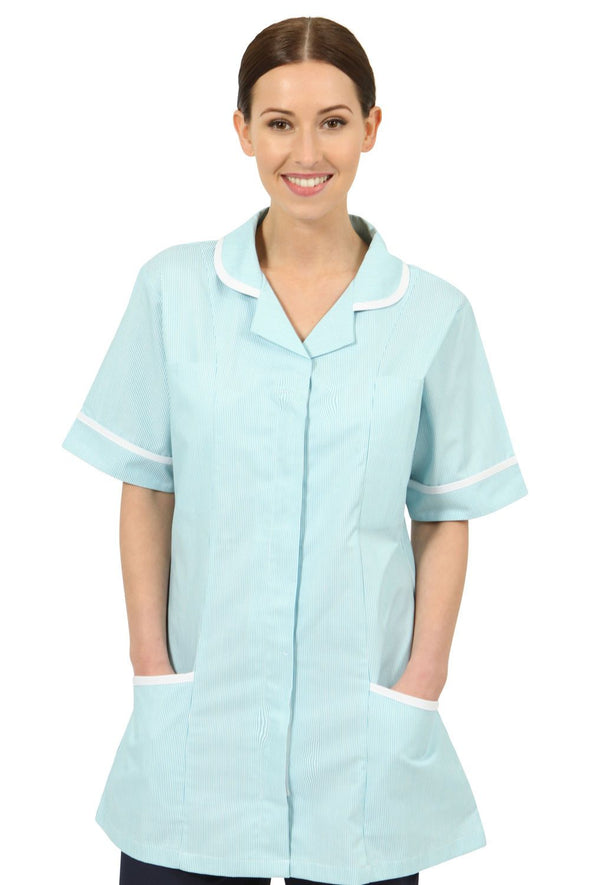 NCLT- Round Collar Tunic (Striped) Ladies Healthcare Tunic Behrens Green Stripe 6