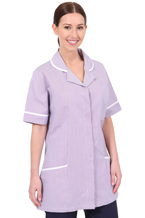 NCLT- Round Collar Tunic (Striped) Ladies Healthcare Tunic Behrens Lilac Stripe 6