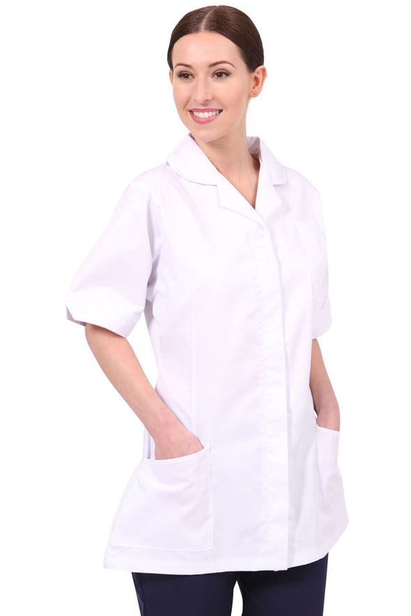 NCLT - Round Collar Tunic (Whites) Ladies Healthcare Tunic Behrens White Trim 6