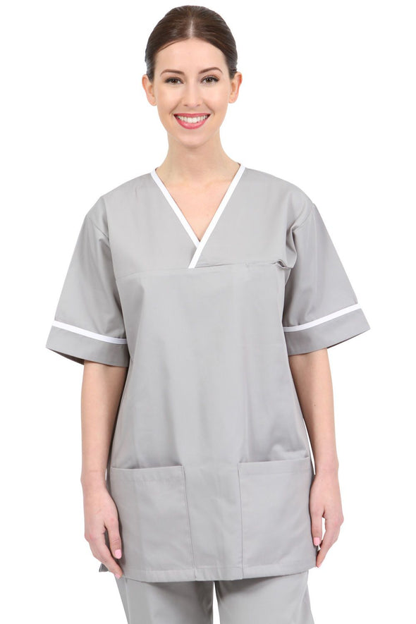 NSTT - Unisex Scrub Tunic (With Trim) Scrubs Behrens Grey XS