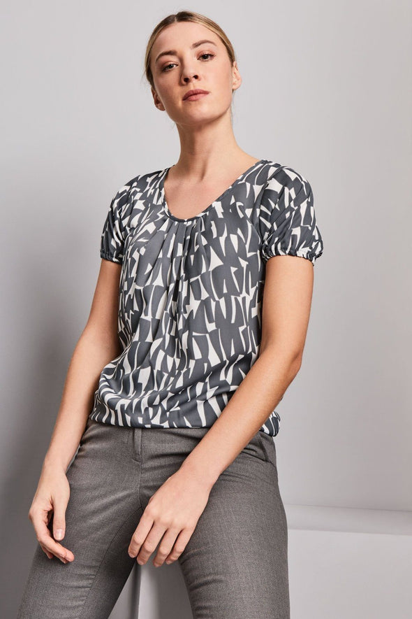 Pleat Front Blouse - Shards Prints Blouses Simon Jersey