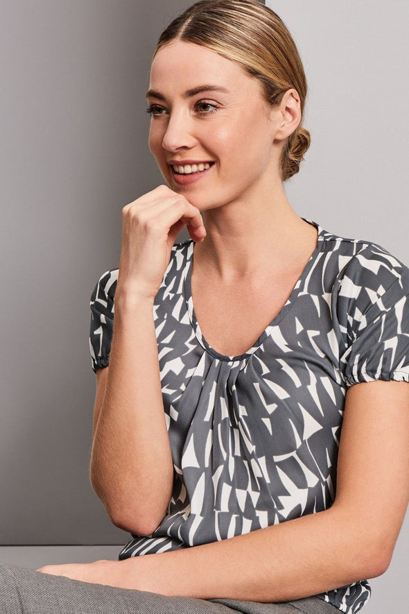 Pleat Front Blouse - Shards Prints Blouses Simon Jersey Grey Shards 6