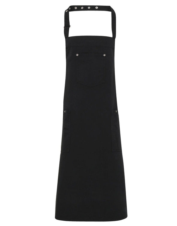 PR132 - Chino Cotton Bib Apron Aprons Premier Black