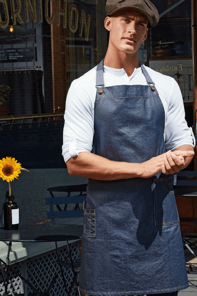 PR134 - Waxed-Look Denim Bib Apron Aprons Premier