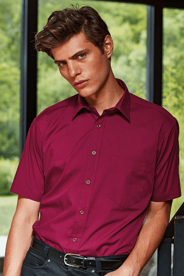 **PR202 - Poplin Shirt Mens Short Sleeve Shirts Premier