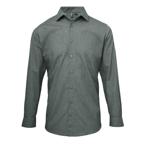 PR217 - Mens Roll Sleeve Poplin Shirt Hospitality Shirts Premier Grey Denim XS