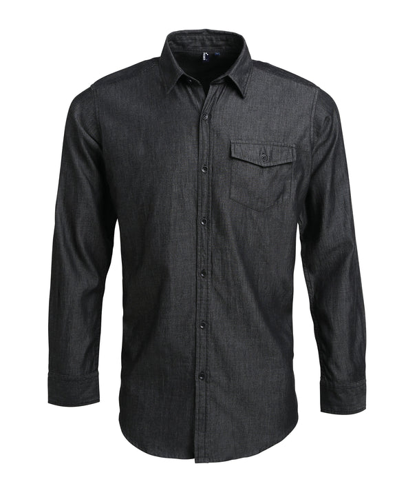 PR222 - Mens Denim Shirt Hospitality Shirts Premier Black Denim XS