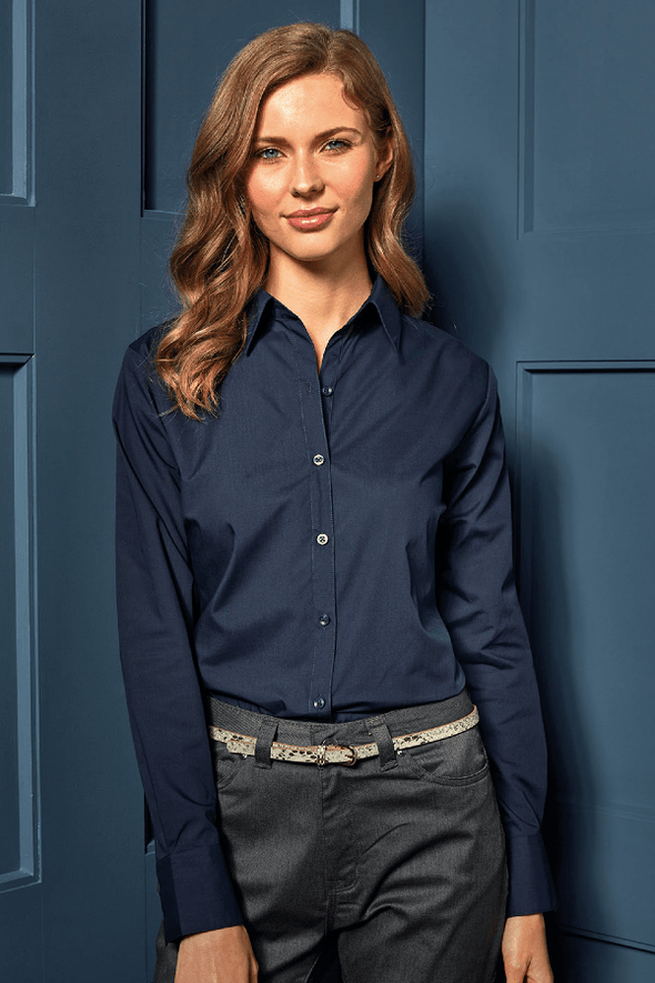 PR300 - Poplin Shirt Womens Long Sleeve Shirts Premier