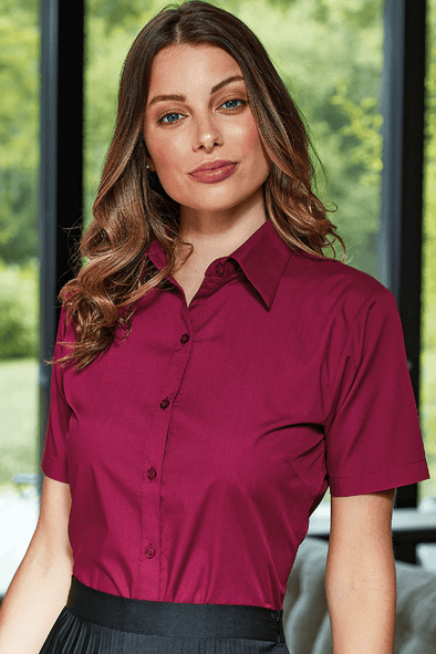 **PR302 - Poplin Shirt Womens Short Sleeve Shirts Premier