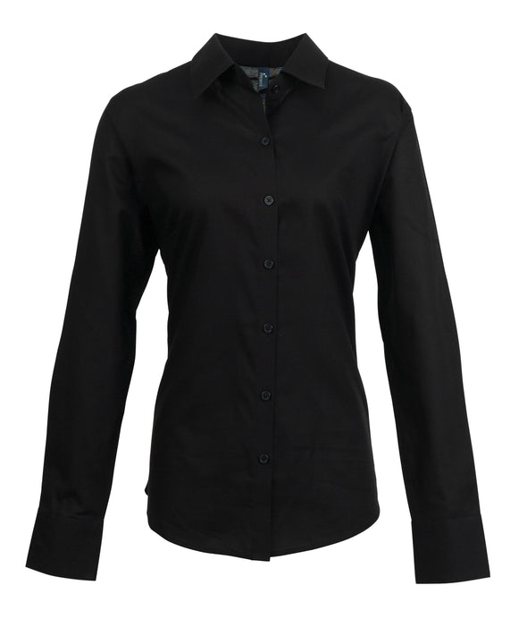 PR334 - Signature Oxford Shirt Womens Long Sleeve Shirts Premier Black 8