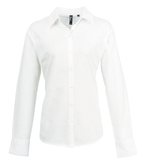 PR334 - Signature Oxford Shirt Womens Long Sleeve Shirts Premier White 8