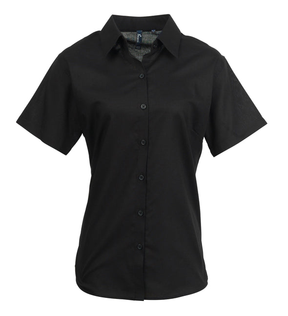 PR336 - Signature Oxford Shirt Womens Short Sleeve Shirts Premier Black 8