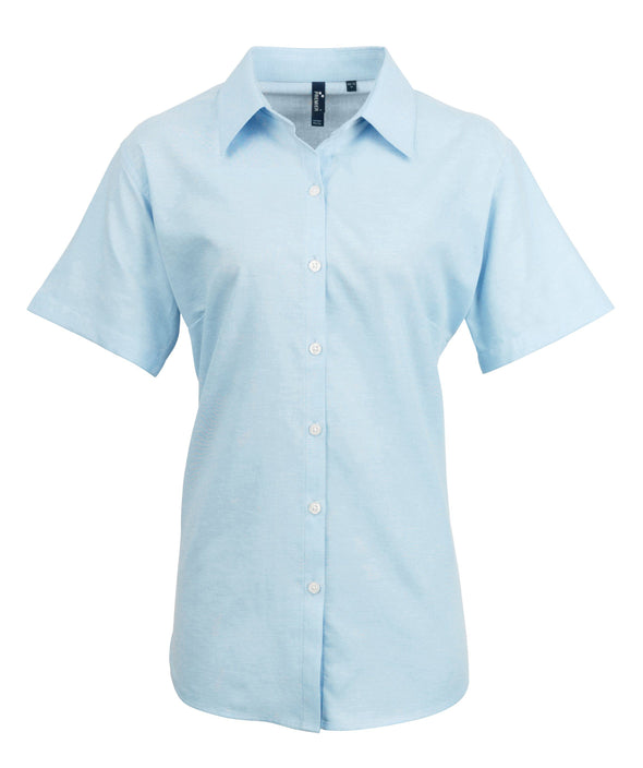 PR336 - Signature Oxford Shirt Womens Short Sleeve Shirts Premier Light Blue 8