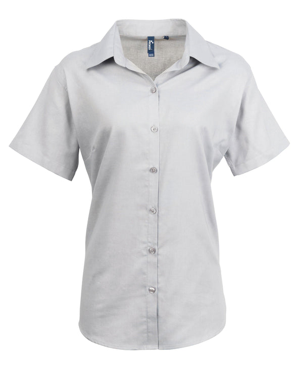 PR336 - Signature Oxford Shirt Womens Short Sleeve Shirts Premier Silver 8