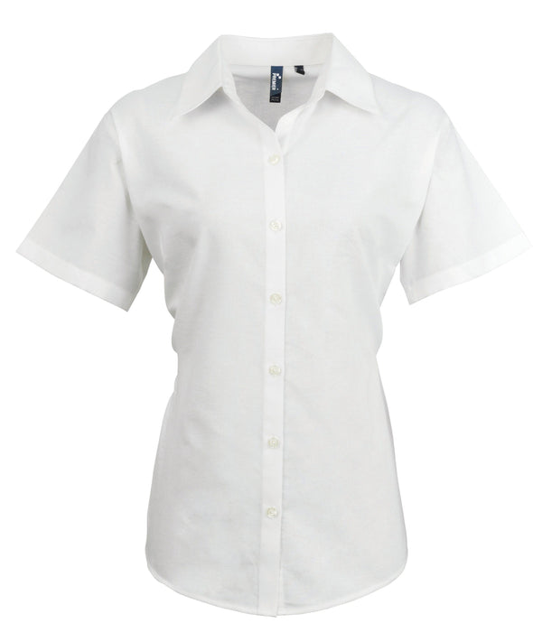 PR336 - Signature Oxford Shirt Womens Short Sleeve Shirts Premier White 8