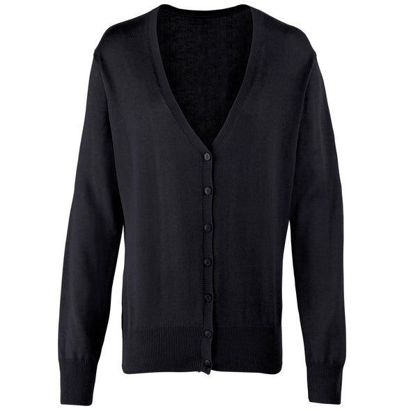 PR697 - Button Through Knitted Cardigan Womens Knitwear Premier Black 8