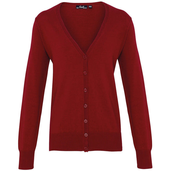 PR697 - Button Through Knitted Cardigan Womens Knitwear Premier Burgundy 8