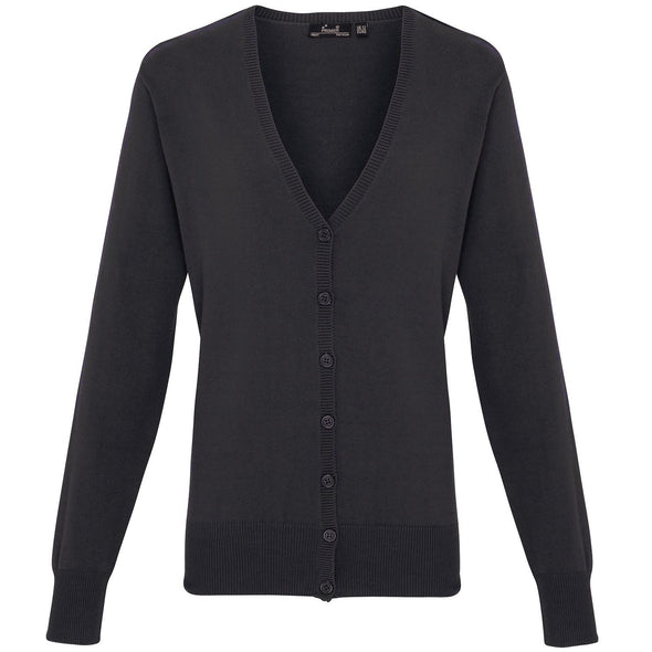 PR697 - Button Through Knitted Cardigan Womens Knitwear Premier Charcoal 8