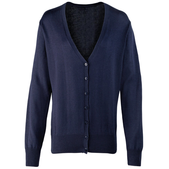 PR697 - Button Through Knitted Cardigan Womens Knitwear Premier Navy 8