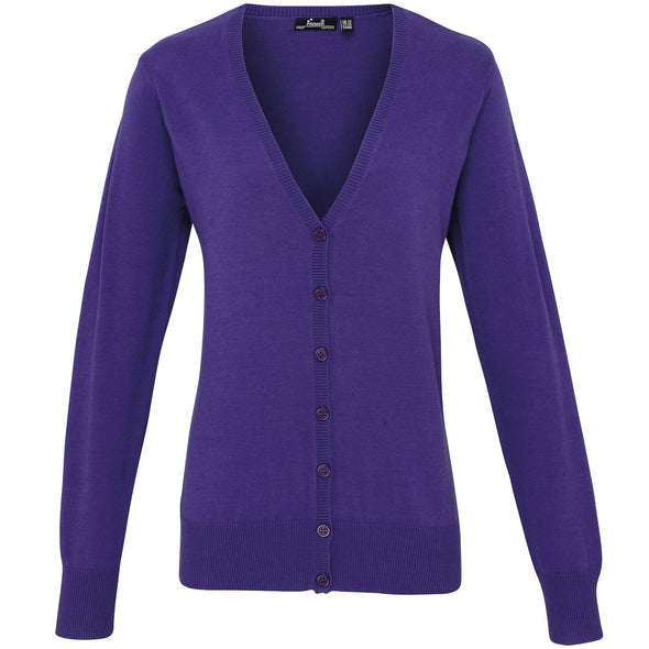 PR697 - Button Through Knitted Cardigan Womens Knitwear Premier Purple 8