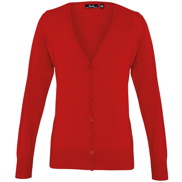 PR697 - Button Through Knitted Cardigan Womens Knitwear Premier Red 8