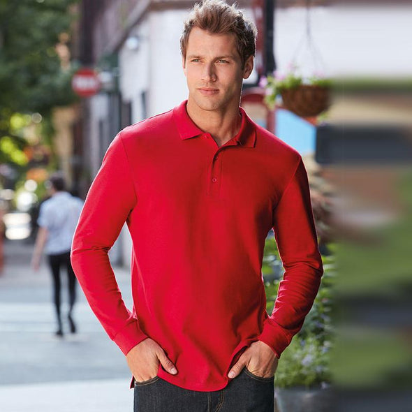 Premium Cotton L/S Double Pique Polo Mens Polos Gildan
