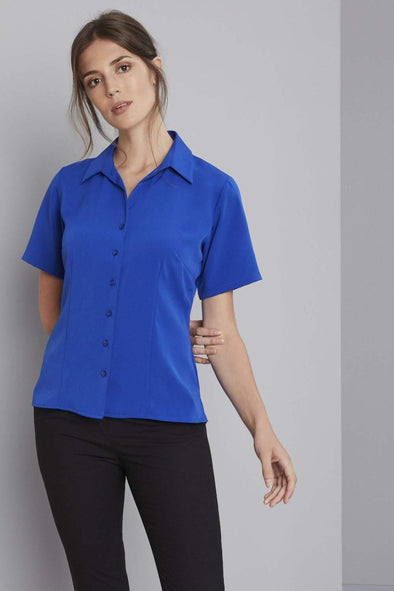Semi-Fitted Open Collar Blouse Blouses Simon Jersey Cobalt Blue 6
