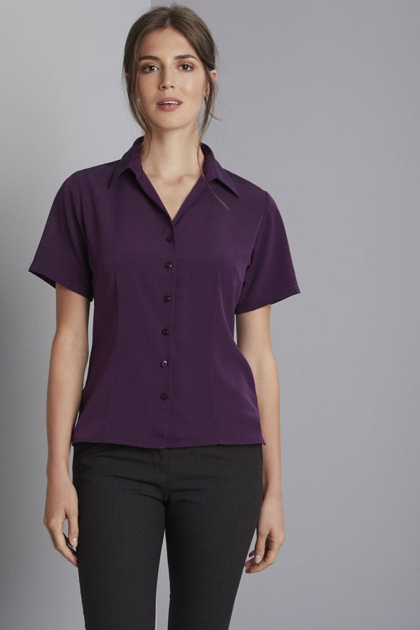 Semi-Fitted Open Collar Blouse Blouses Simon Jersey Plum 6