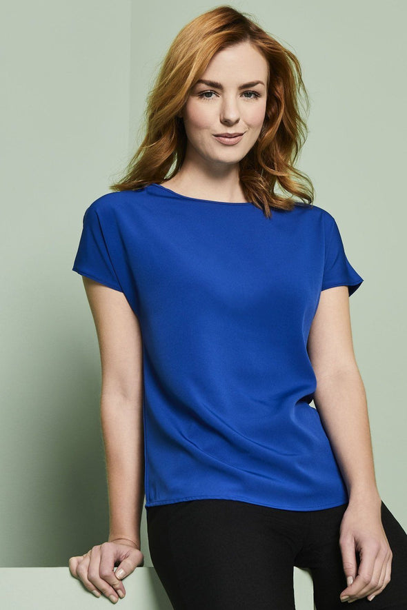 Slash Neck Blouse Blouses Simon Jersey Cobalt Blue 6