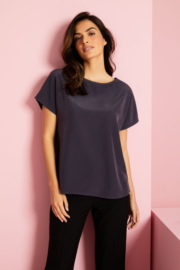 Slash Neck Blouse Blouses Simon Jersey Dark Grey 6