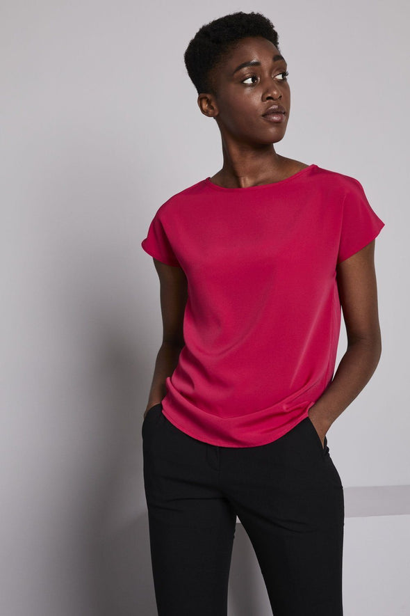 Slash Neck Blouse Blouses Simon Jersey Hot Pink 6