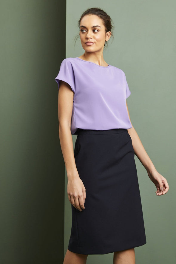 Slash Neck Blouse Blouses Simon Jersey Lilac 6