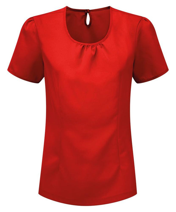 Womens Round Neck Crepe de Chine Blouse Blouses Alexandra Red 6