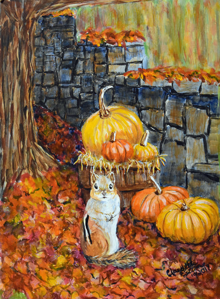 Squirrel and Pumpkins Greeting and Note Cards      Prints
