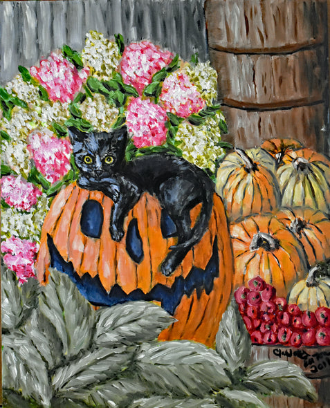 Halloween Pumpkin and Black Cat Greeting and Note Cards      Prints